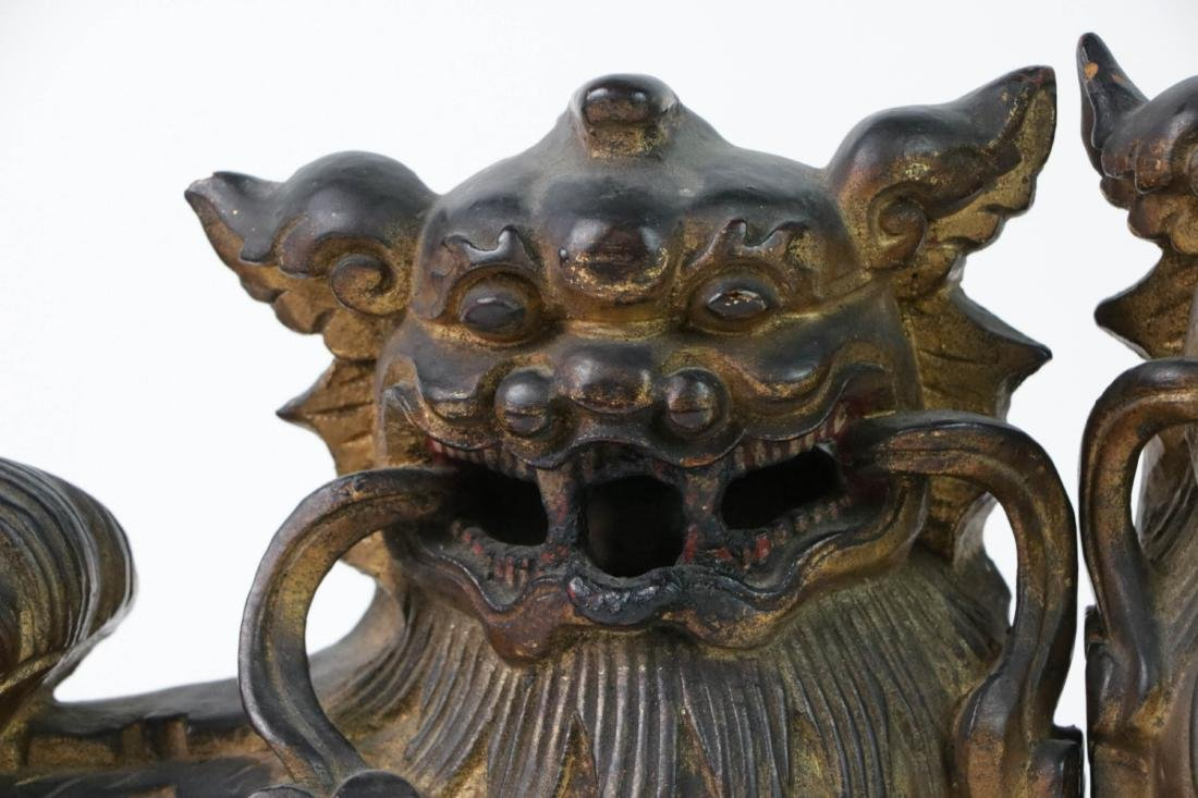 Pair QIng Wood Lions with Gilt - 2