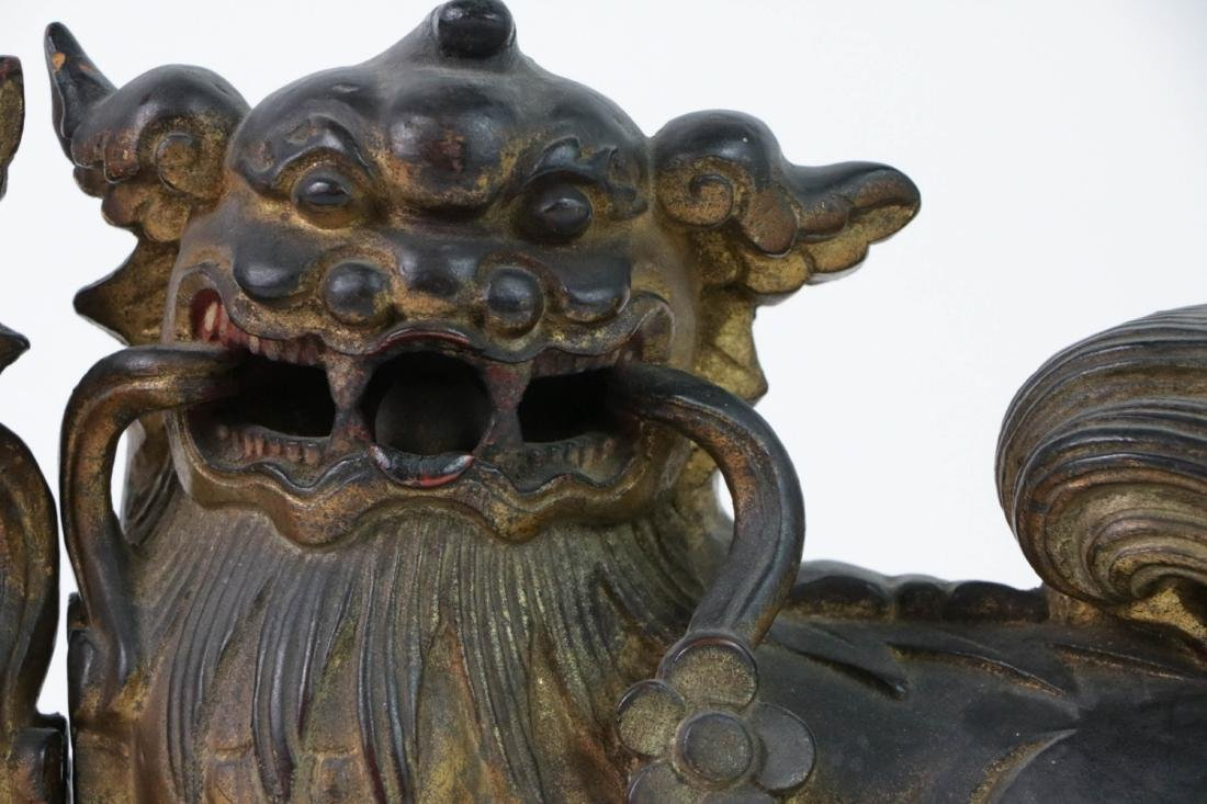 Pair QIng Wood Lions with Gilt - 3