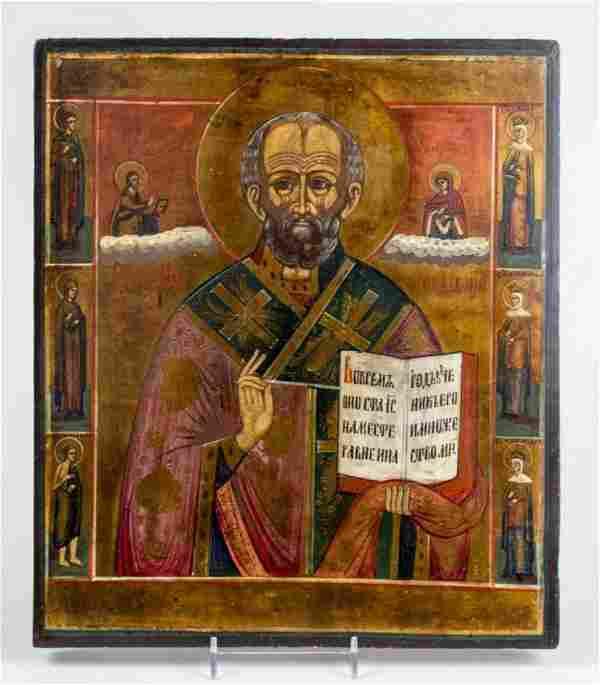 19c Russian icon st.Nicholas with 6 saints