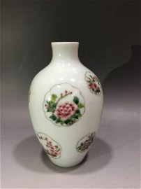 Famille Rose Porcelain Vase with Flowers