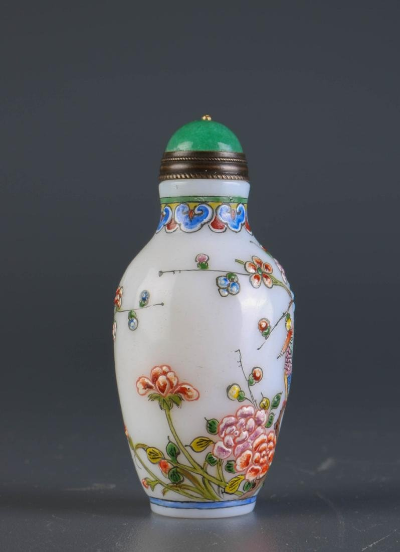 Chinese Enameled Glass Snuff Bottle - 2