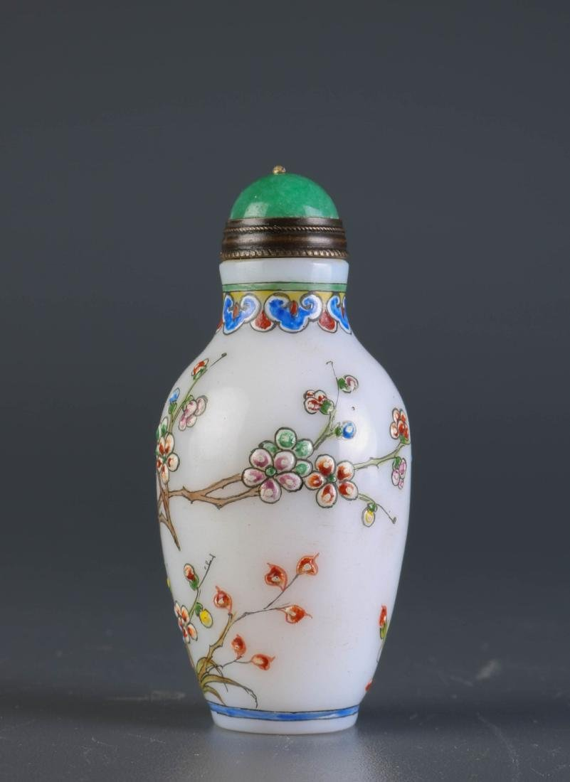 Chinese Enameled Glass Snuff Bottle - 3