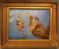 Oil on board M.Chemiakin style surrealism Seen.