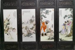 Set 4 Chinese Famille Rose Porcelain Plaque,Marked