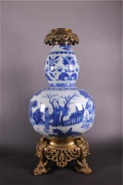 Rare Chinese Blue and White Gourd Shape Vase
