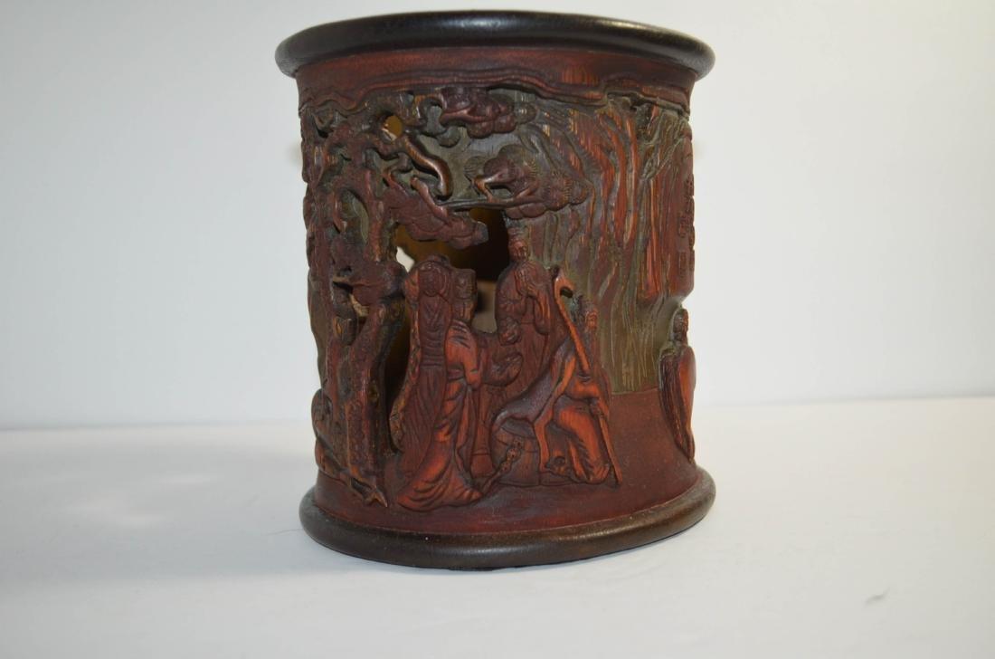 Chinese antique Bamboo Brush Pot - 2