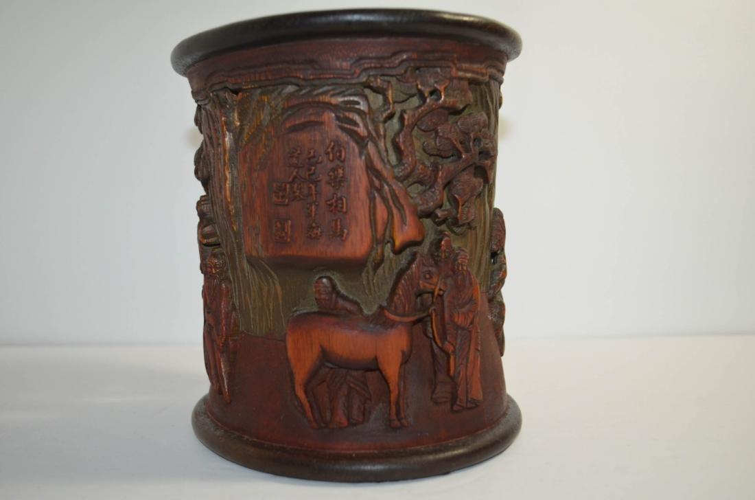 Chinese antique Bamboo Brush Pot - 3