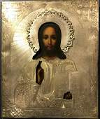 19c 84 Silver Russian icon of Christ Nikolay Zver
