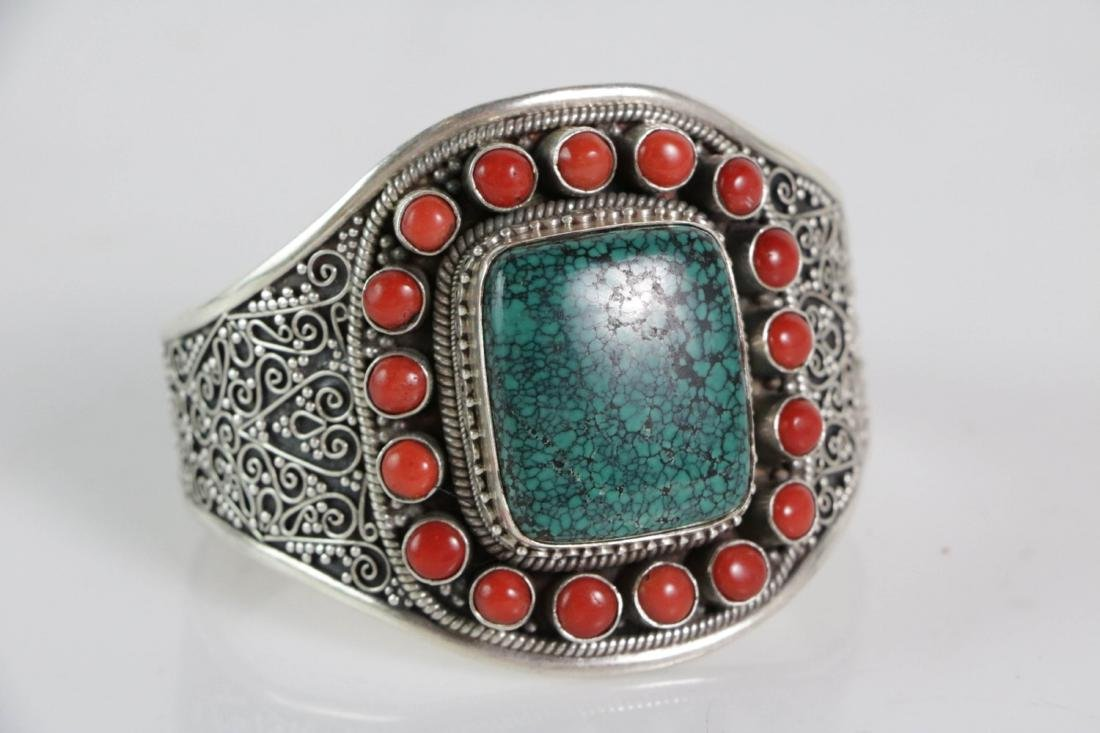 Silver Coral and Turquoise Bracelet