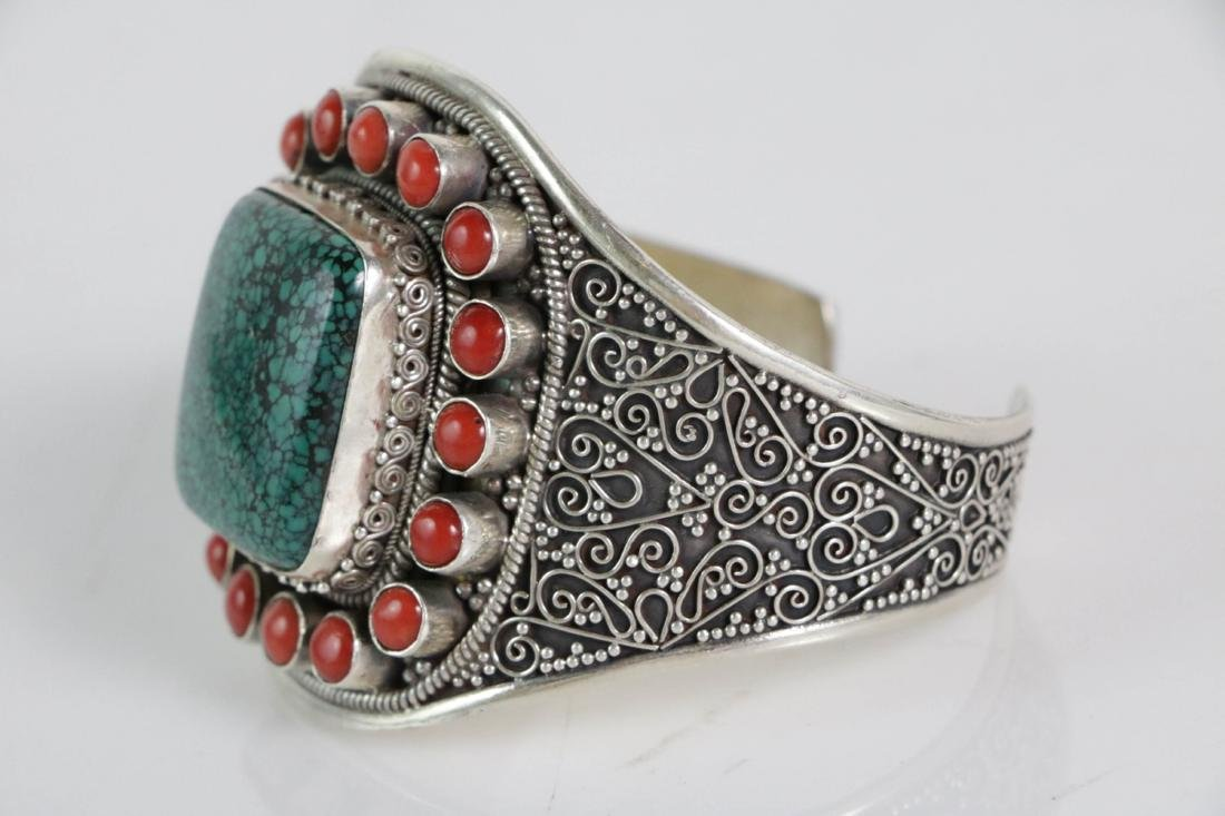 Silver Coral and Turquoise Bracelet - 2
