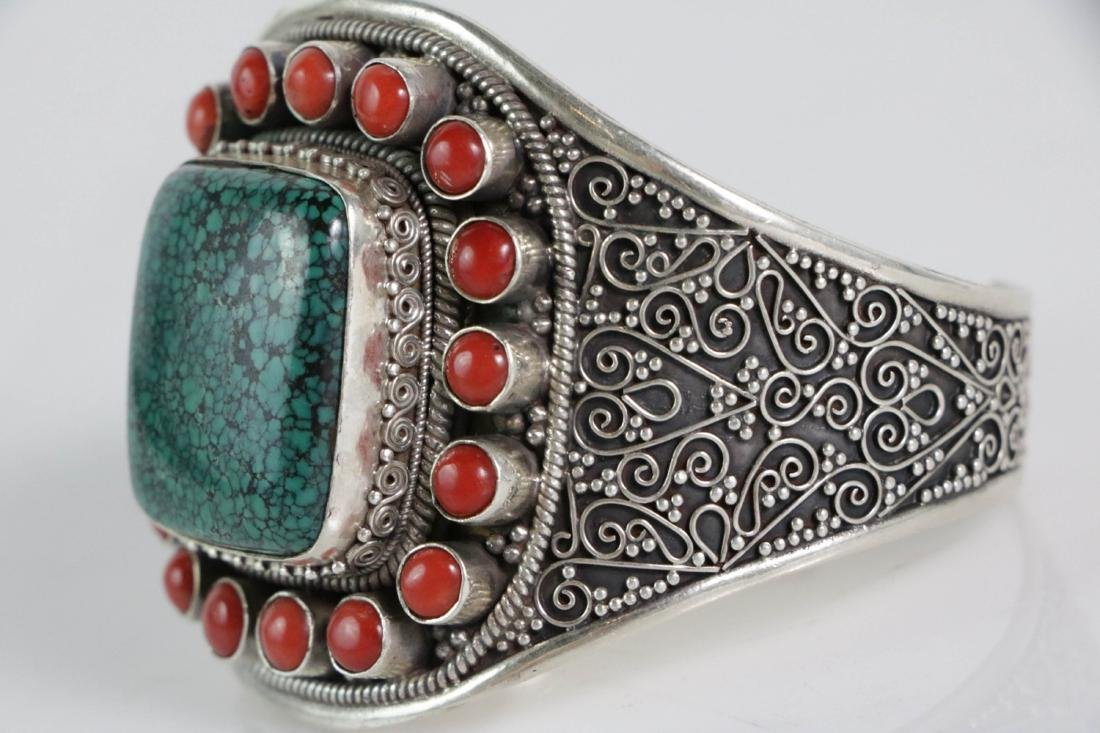 Silver Coral and Turquoise Bracelet - 5