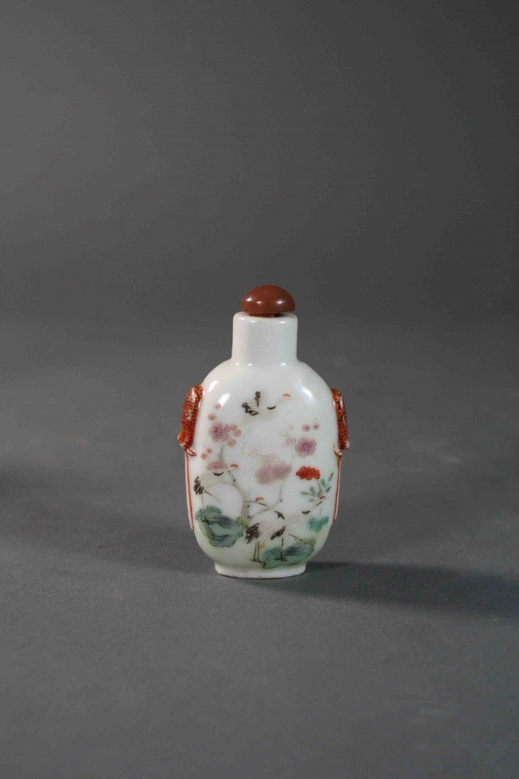 3: Chinese Qing painted Famille Rose snuff bolttle 19th