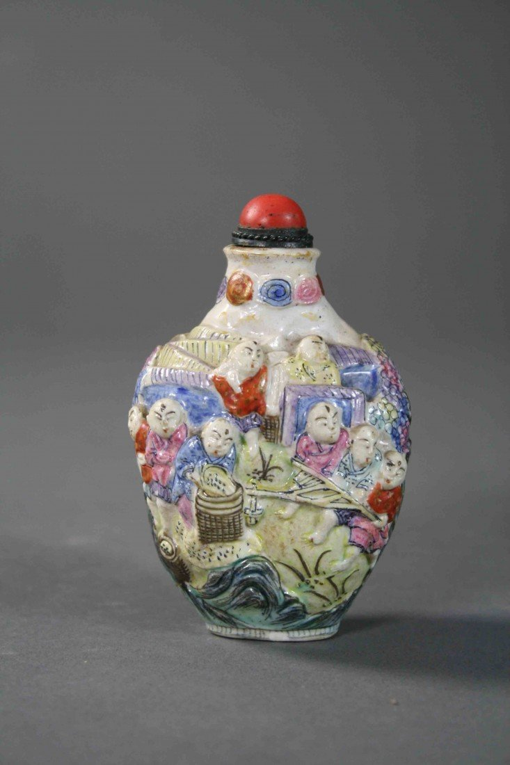 7: Chinese carved porcelain famille rose lohans snuff b
