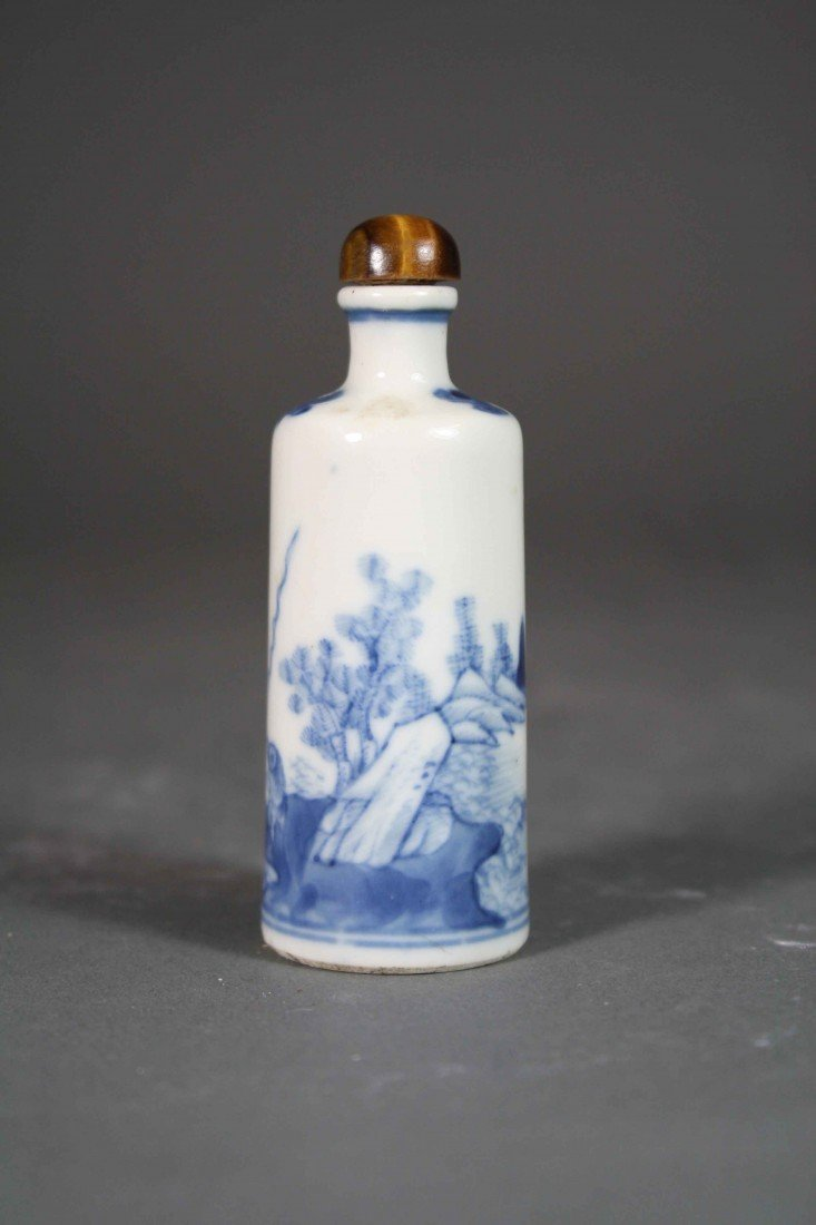 14: Chinese Qing painted B/W fishman snuff bolttle 19th
