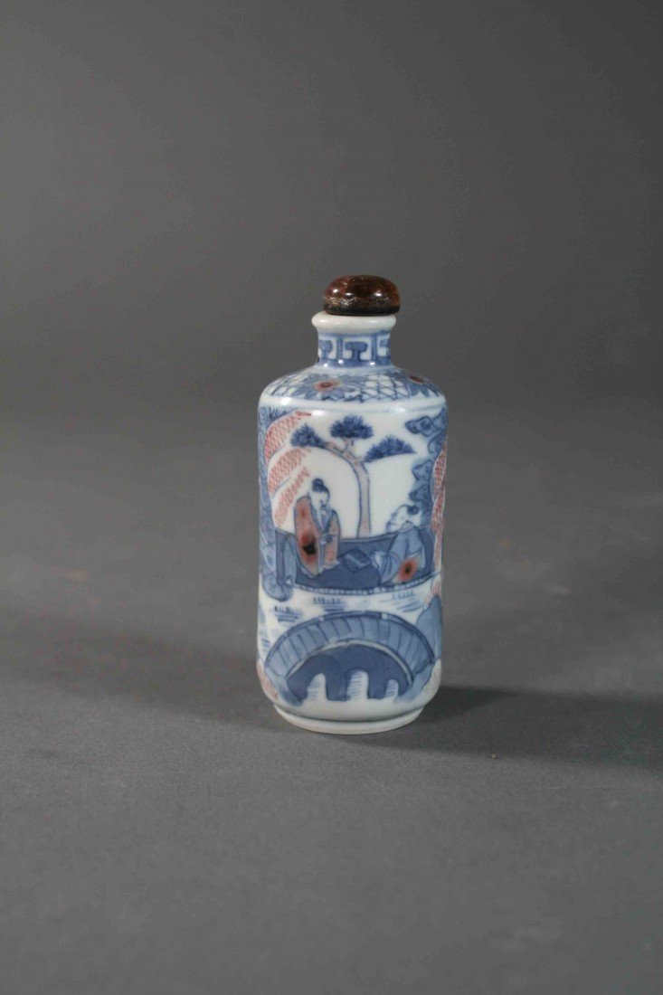 18: Chinese Qing painted B/W copper-red snuff bolttle 1