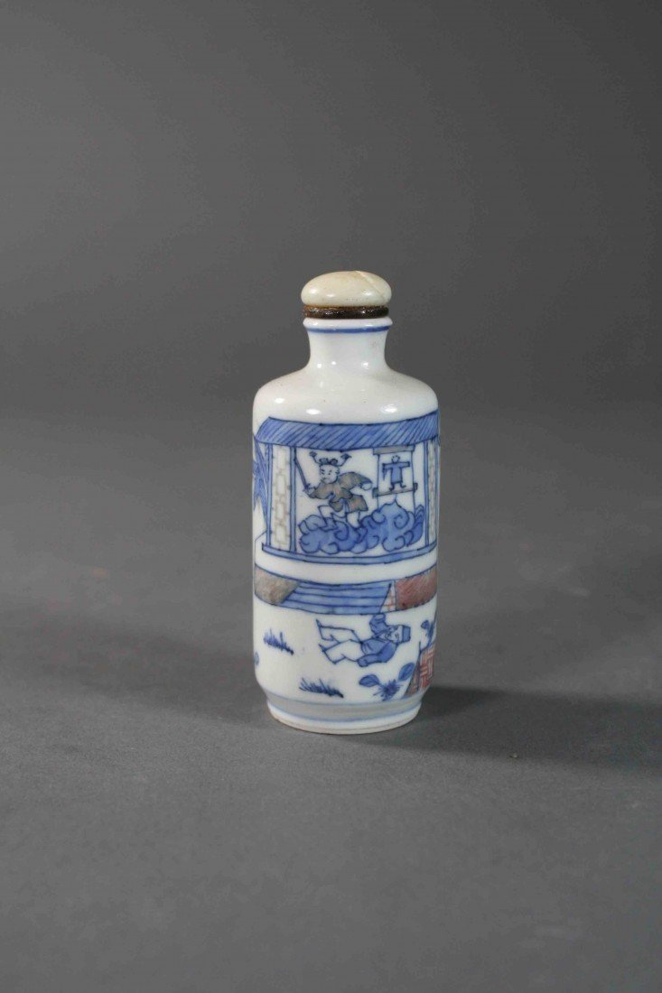 19: Chinese Qing painted B/W copper-red snuff bolttle 1