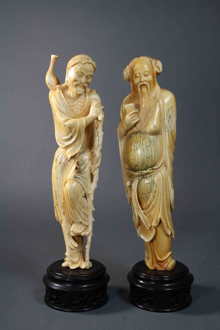 244: Two Chinese carvings of ivory immortals Very good