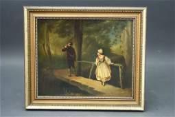 465: Framed German O/C of Gentleman Hunter w/ Maiden on