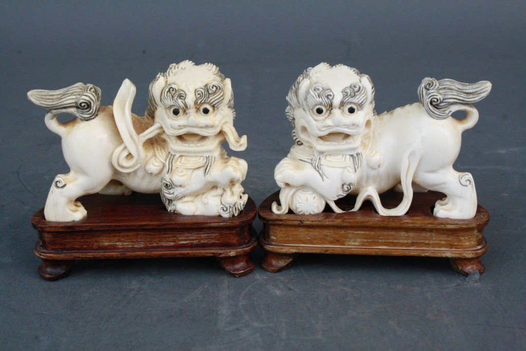 39: Pair of Carved Ivory Foo Lions