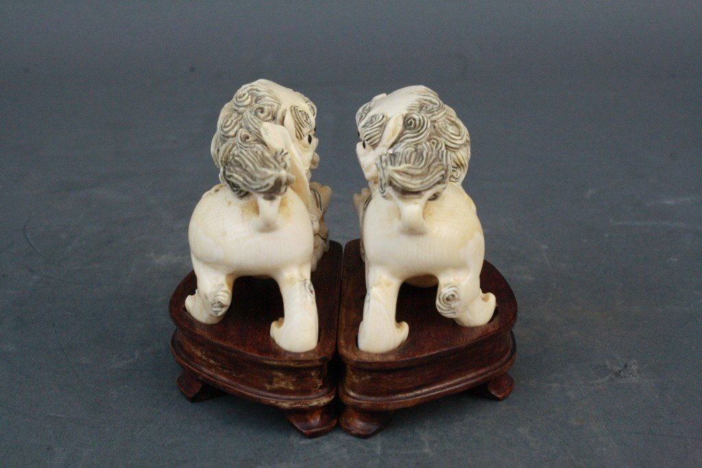 39: Pair of Carved Ivory Foo Lions - 4