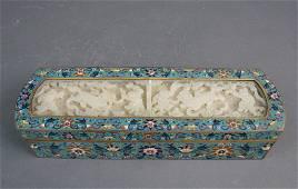 113: Rare Chinese Cloisonne Inlaid Jade Incense Box
