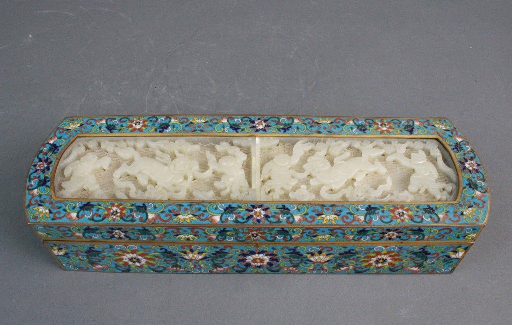 113: Rare Chinese Cloisonne Inlaid Jade Incense Box