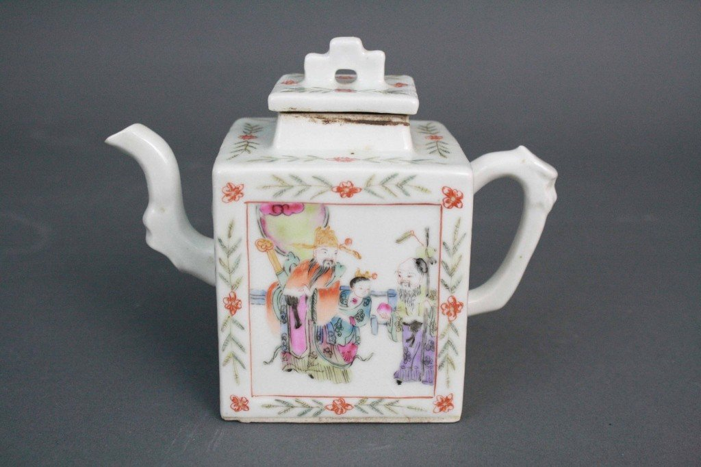 155: Famille Rose Square Shaped Tea Pot
