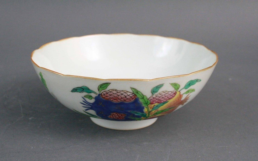 156: Famille Rose Bowl with Foliated Rim