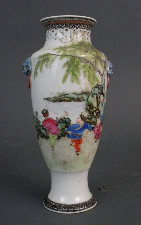 162: Porcelain Flower Vase w/ Children Playing