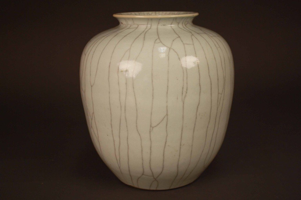 169: Chinese Guan Crackle Glazed Ovoid Shaped Vase 19C