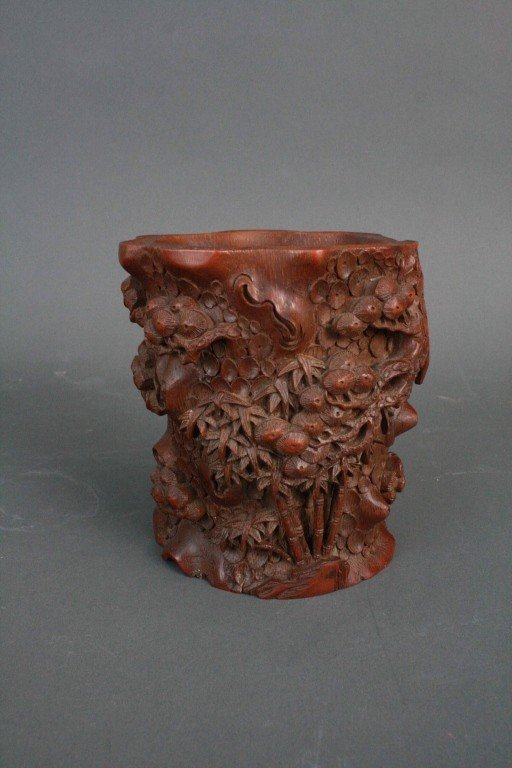 175: Bamboo Carved Brush Pot