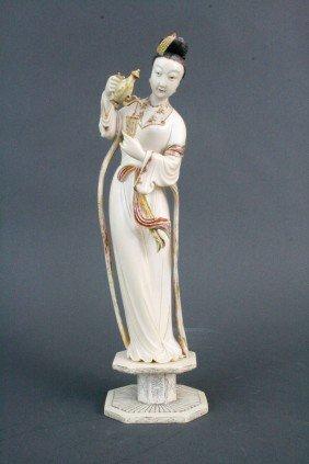 Polychrome Ivory Lady Holding Wine Vessel