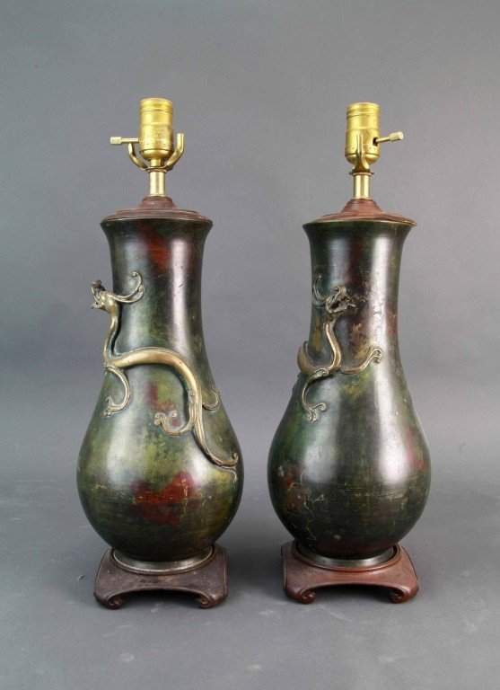4: Pair of Chinese Qing Bronze Vases