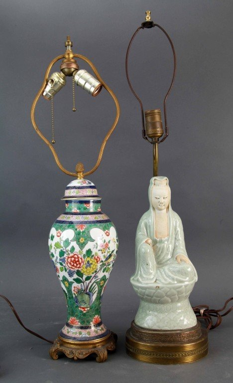 10: Two Chinese Porcelain Lamps