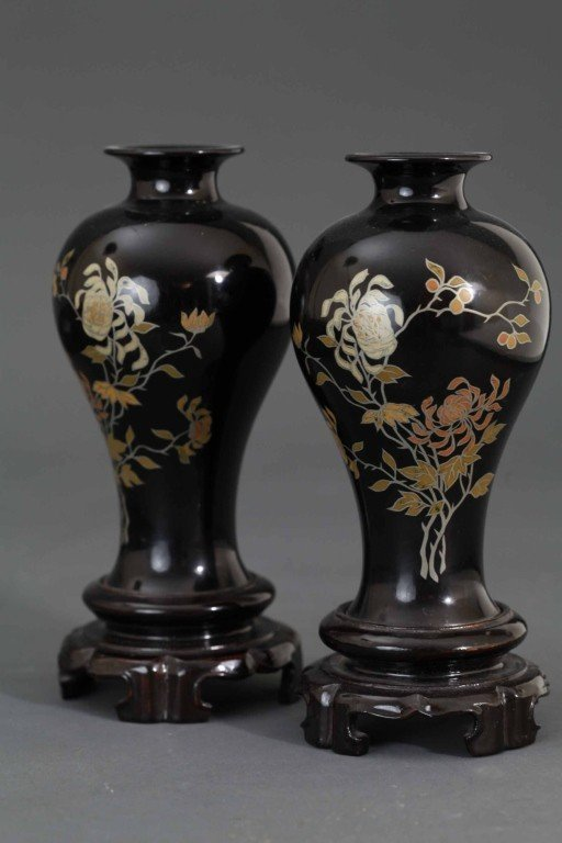 232: Pair of Chinese Qing Lacquer Vases
