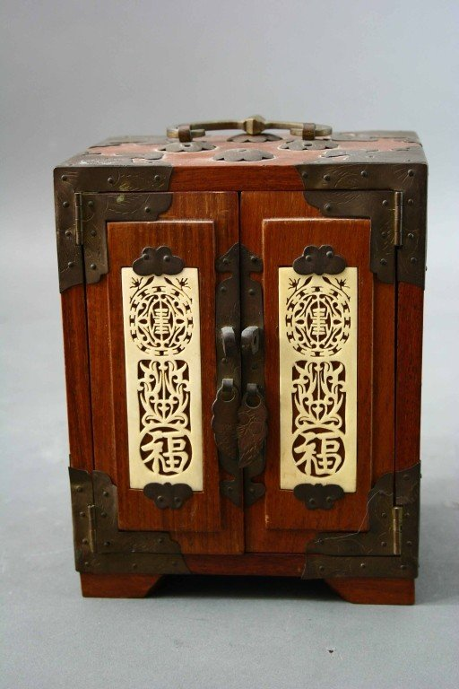 15: Asian Jewelry Box with Inset Ivory Carved Panels