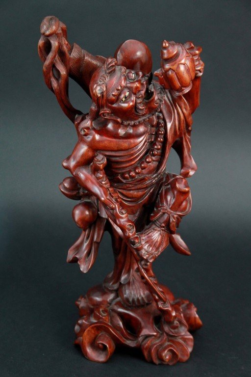 22: Chinese Wood Carved Figure of Man with Teapot