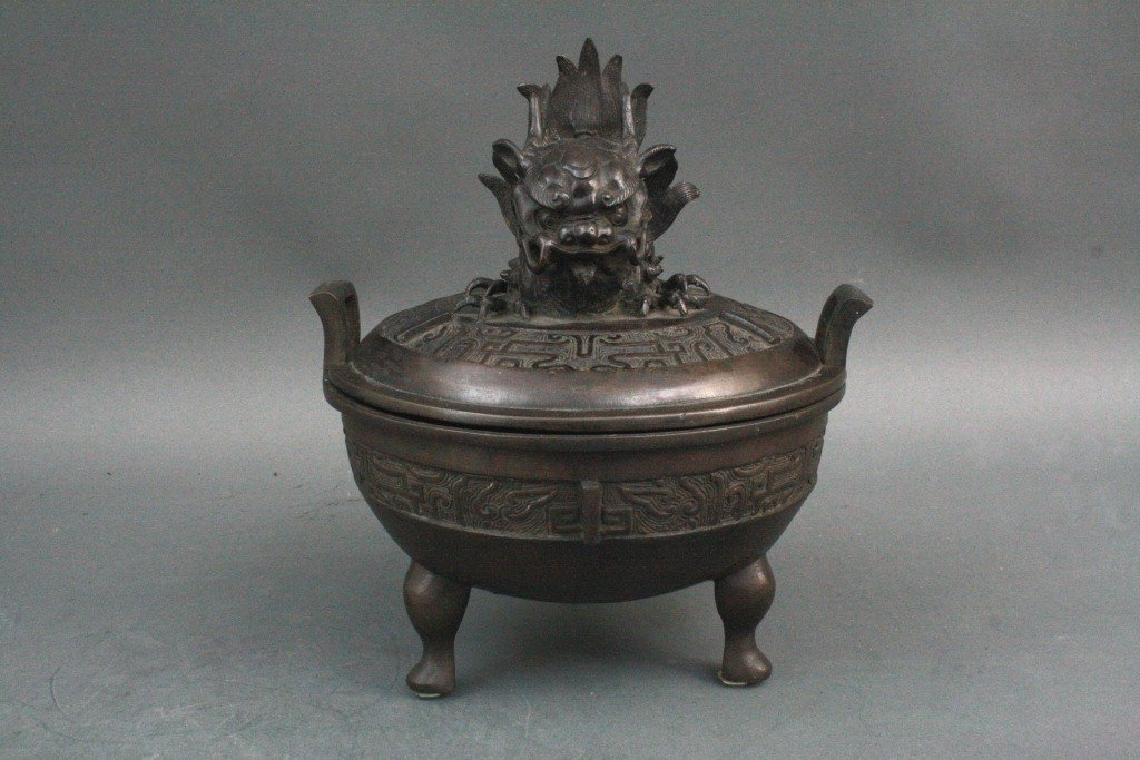 315: Chinese Qing Bronze Censer with Dragon fish