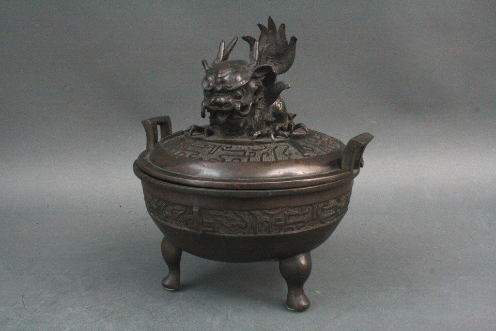 315: Chinese Qing Bronze Censer with Dragon fish - 2