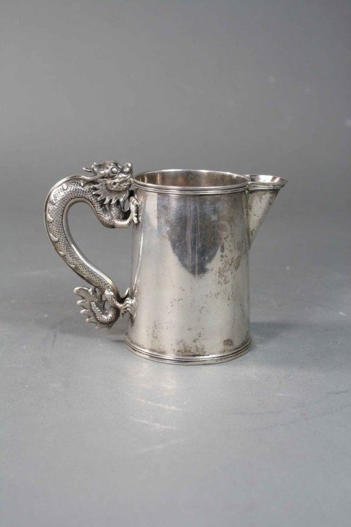 352: Late 19th C. Chinese Silver Cup with Dragon Handle