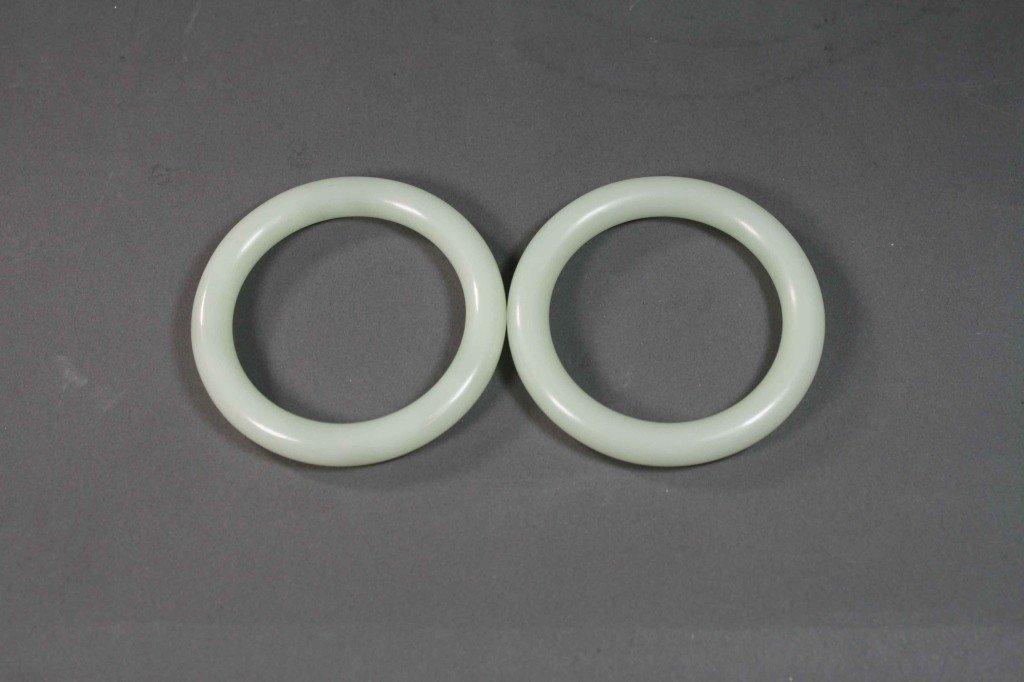 353: Pair of Chinese White Jade Bangles
