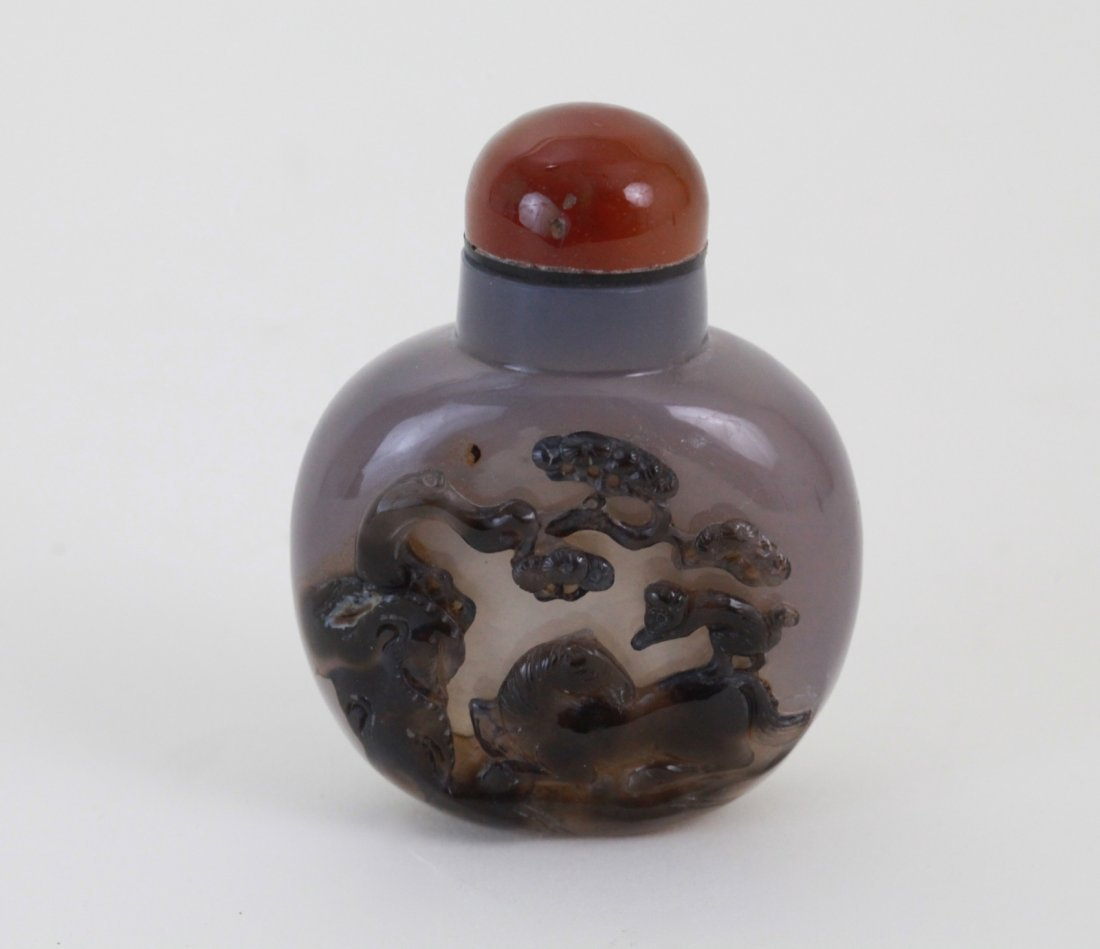 17: Chinese Agate Snuff Bottle Carving Horse & Monkey