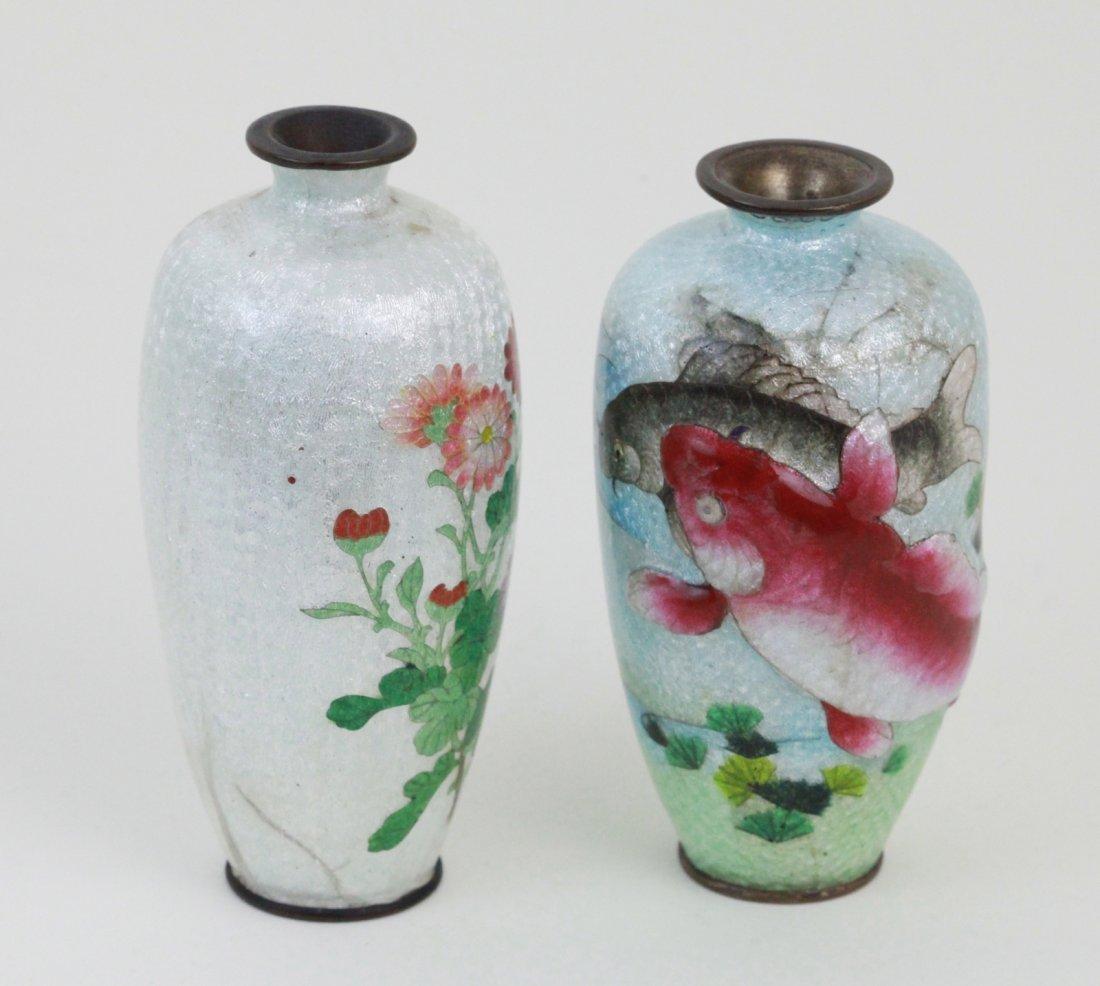 22: 2 Pieces of Cloisonne  Small Vase.