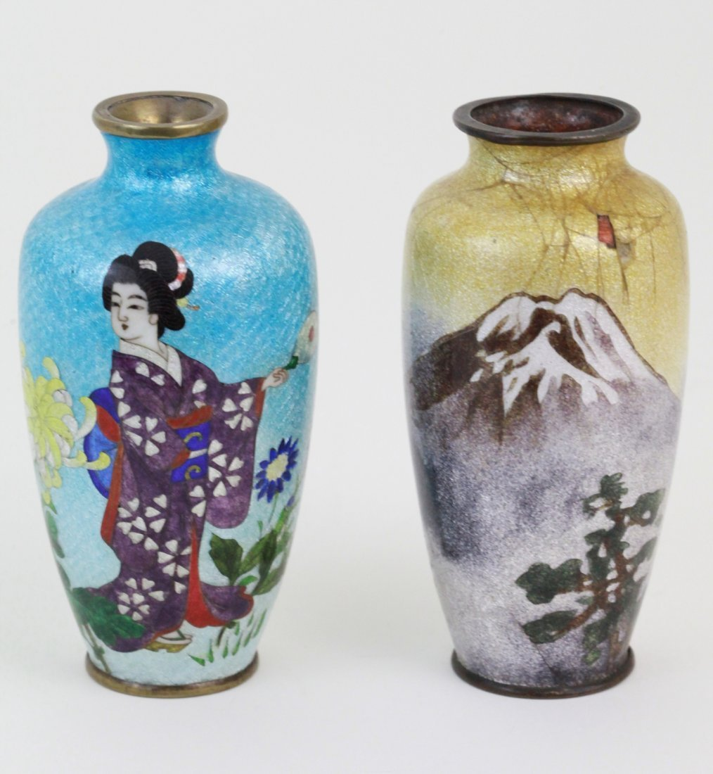 23: 2 Pieces of Cloisonne  Small Vase