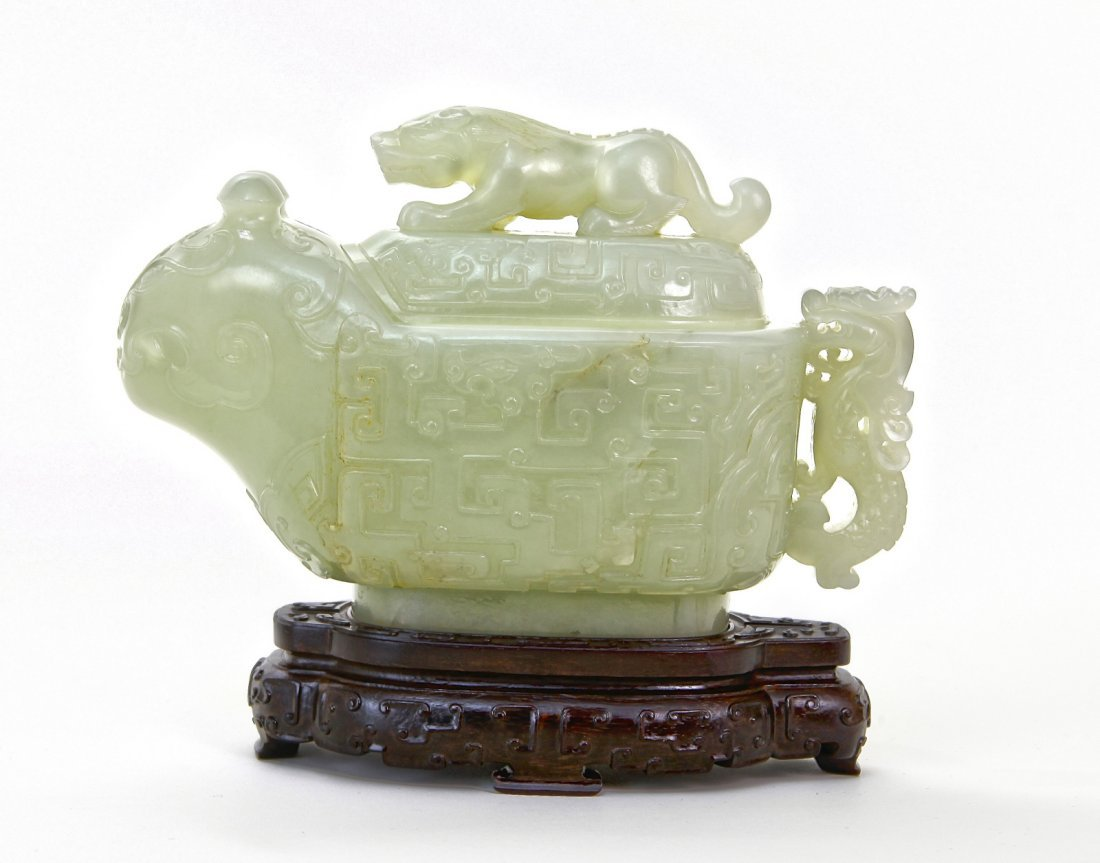 188: 18th C. Chinese Jade Carving Censor w/ Zitan Stand