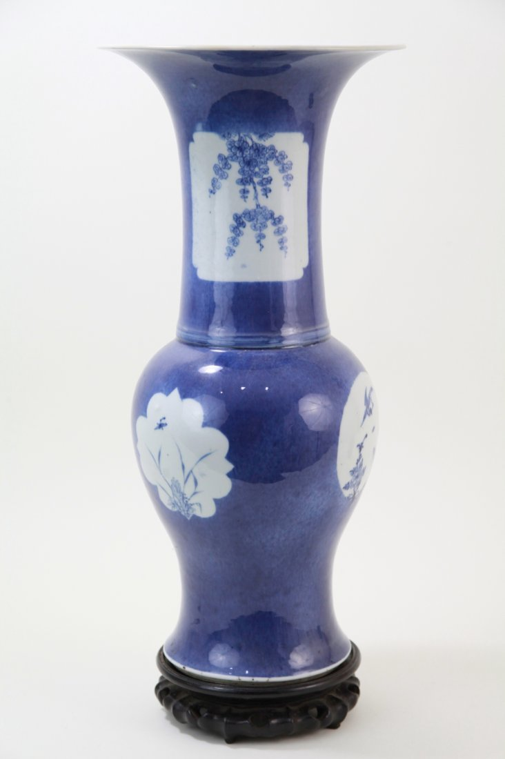 227: Chinese Blue & White Yen Yen Vase, Kangxi Period