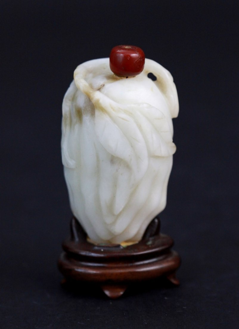 10: Chinese Jade Snuff Bottle Carved in Buddha Hand