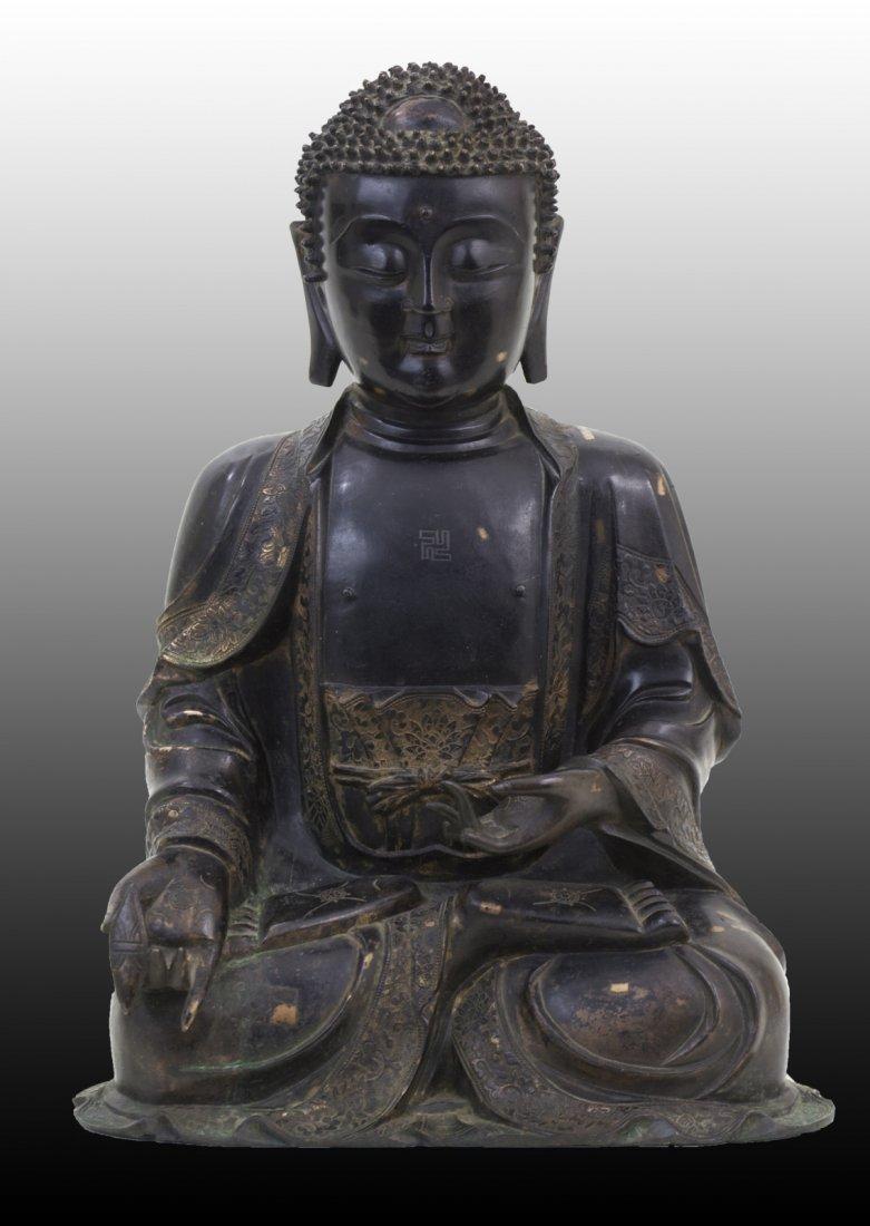 113: 16th Century Very Finely Cast Large Bronze Buddha