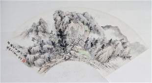 400 Chinese Ink and Color Fan Painting of Landscape