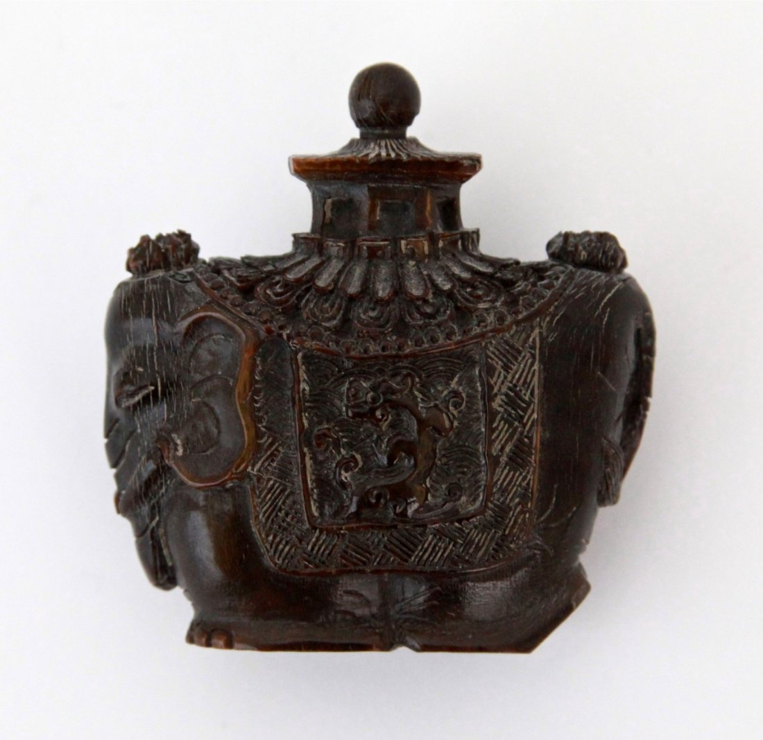 9: Chinese Ox Horn Snuff Bottle Carved of Elephant